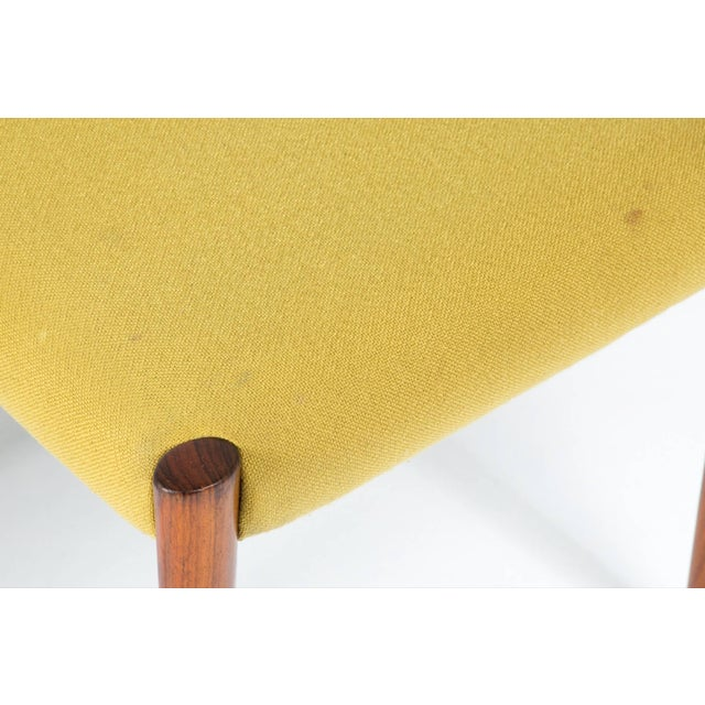 1960s 1960s Yellow Fabric Rosewood Danish Modern Chairs- Set of 4 For Sale - Image 5 of 12