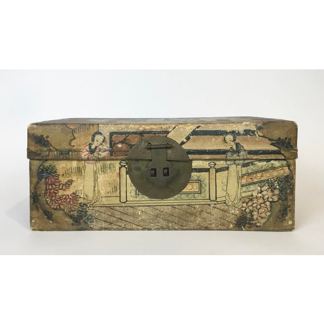 Figurative 19th C. Asian Hand Painted Hide Box For Sale - Image 3 of 12
