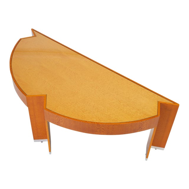 "Custom Lacewood ""Mezzaluna"" Desk by Pace Collection For Sale"