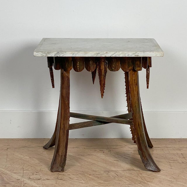 Mid Century Palm Leaf Table With Antique Marble Top, Hawaii For Sale In San Francisco - Image 6 of 6