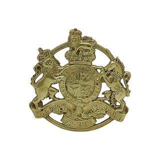 Vintage English Brass Royal Crest Trivet For Sale