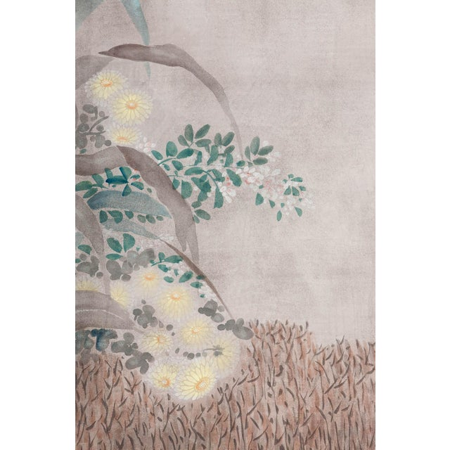 """Sung Tze-Chin Large Chinoiserie Hanging Screen Ink on Paper """"Brushed Wood Fence With Chrysanthemum"""" 11 Feet Wide by 6 Feet Height For Sale In Seattle - Image 6 of 11"""