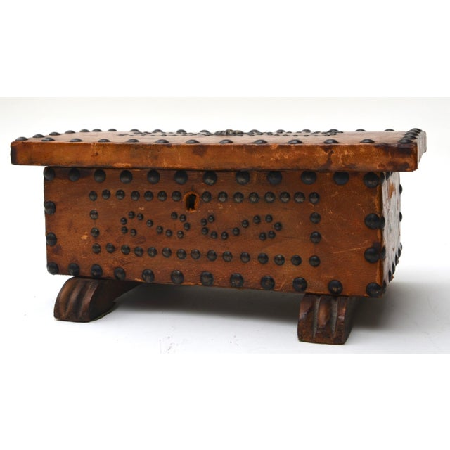 Americana Old West Brass Studded Embellished Leather-Clad Small Box For Sale - Image 3 of 7