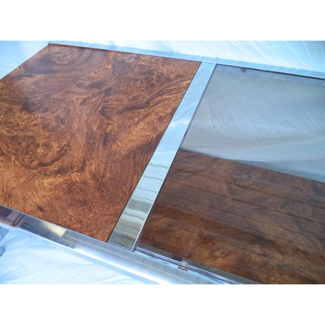 Mid-Century Chrome & Burl Coffee Table - Image 5 of 6