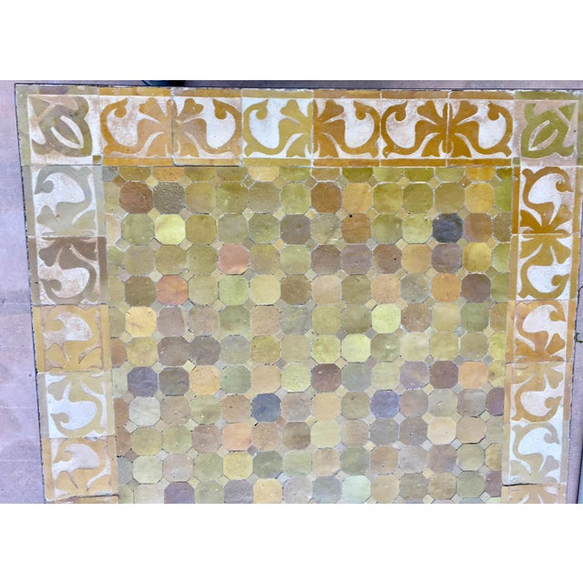 Metal Vintage Moroccan Mosaic Brown Tile Rectangular Coffee Table For Sale - Image 7 of 12