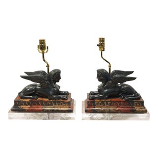 Grand Tour Style Models of the Greek Sphinx as Lamps - a Pair For Sale