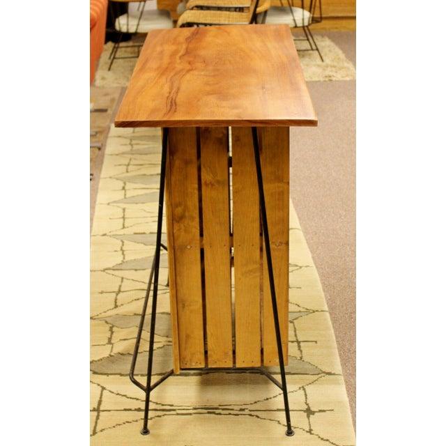 Mid Century Modern Arthur Umanoff for Raymor Iron & Wood Slat Standing Bar 1950s For Sale - Image 9 of 13