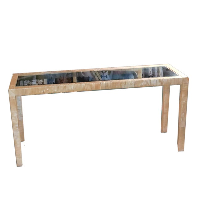 This is a handmade Bielecky Brothers parson's style console table that features neatly wound papyrus reed wrapped tightly...