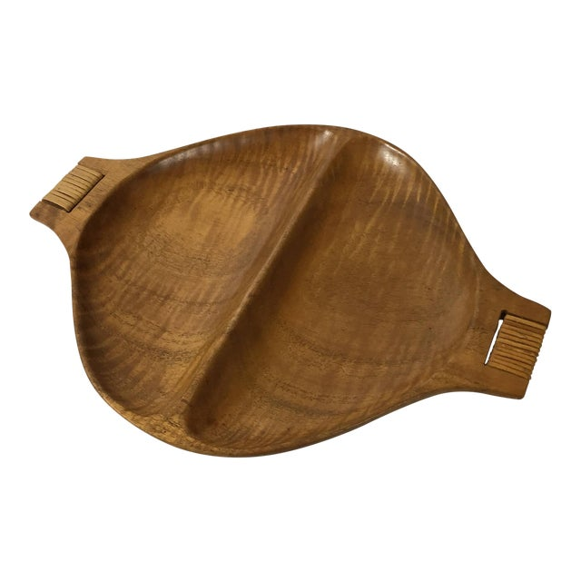 1960s Mid-Century Modern Arthur Umanoff Divided Wooden Serving Tray For Sale