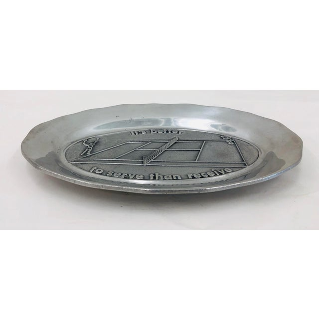 Vintage Tennis Themed Pewter Serving Platter For Sale - Image 4 of 6