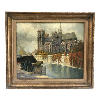 Antique Parisian Scene Cathedral Near River Oil on Canvas Painting