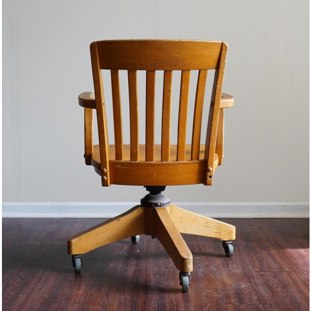 Vintage Wooden Swivel Rolling Desk Chair Chairish