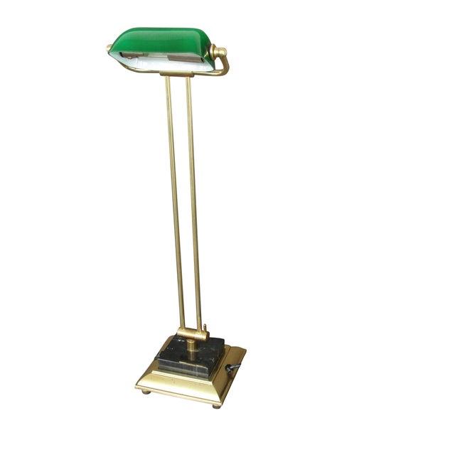 Tall Brass & Green Banker's Desk Lamp - Image 1 of 7