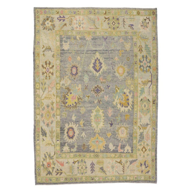 Textile Contemporary Turkish Oushak Rug in Pastel Colors with Tribal Boho Chic Style For Sale - Image 7 of 9