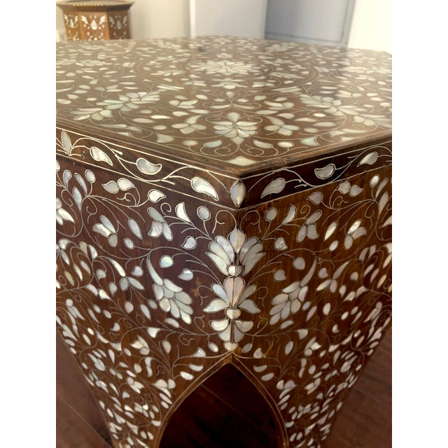 2000s Contemporary Syrian Mother of Pearl Inlaid Side Table For Sale - Image 5 of 8