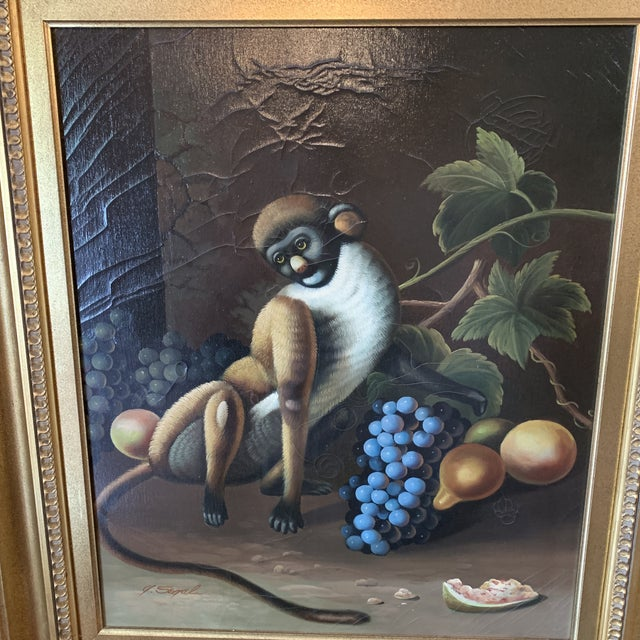 Beautiful Vintage oil on canvas painting representing monkey playing with fruits very attractive and decorative...