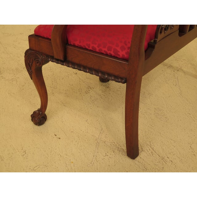 Red Chippendale Mahogany Settee Bench For Sale - Image 8 of 11