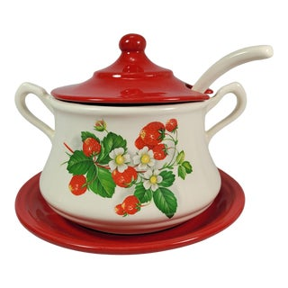 Vintage Country Strawberry Tureen With Matching Ladle & Underplate Set- 3 Pieces For Sale