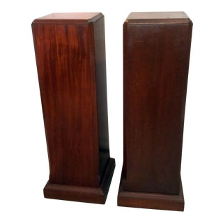Vintage Mahogany Pedestals With Bottle Storage - A Pair
