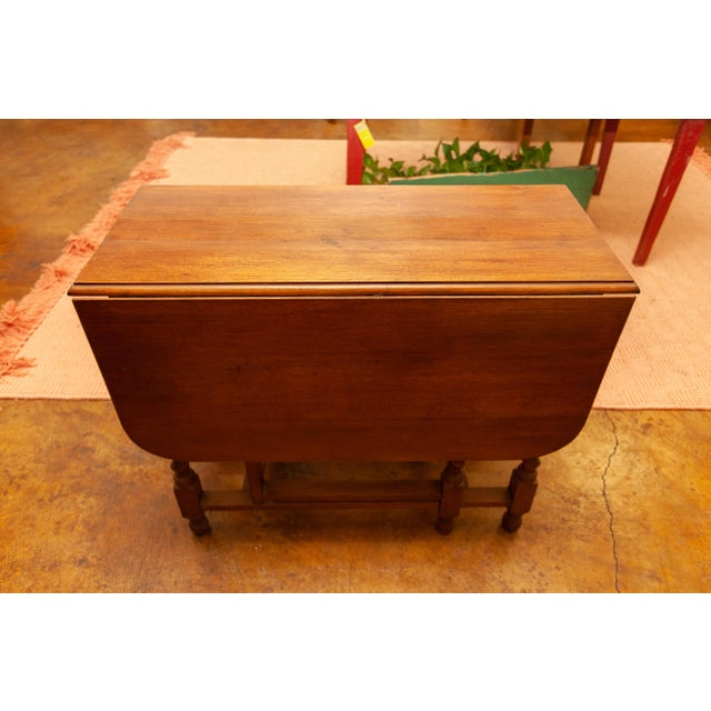 Mid 20th Century 20th Century Traditional Oak Barley Twist Gate Leg Drop Leaf Table For Sale - Image 5 of 11