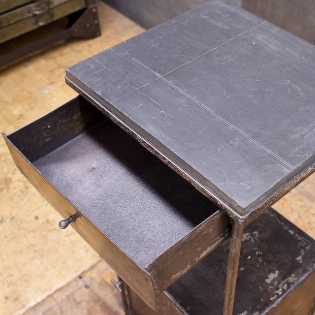 1920s Industrial Alms Petite Industrial Steel and Slate Bedside Table With Cabinet For Sale - Image 5 of 7