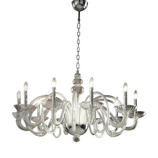 Large Italian Spiraling Ten-Arm Murano Glass Chandelier
