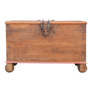 Antique Indian Teak Wedding Trunk For Sale