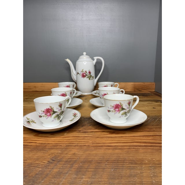 Asian Pink Roses Tea and Teapot Set For Sale - Image 3 of 12