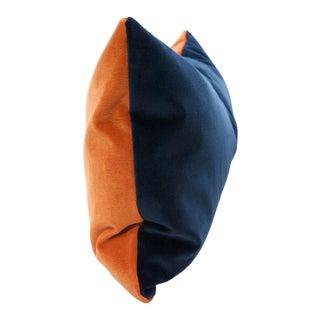 Ying Yang Orange & Indigo Velvet Pillow For Sale