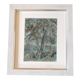 Original Vintage Outsider Artist Peter Duncan Abstract River/Bridge Scene Painting/Drawing For Sale