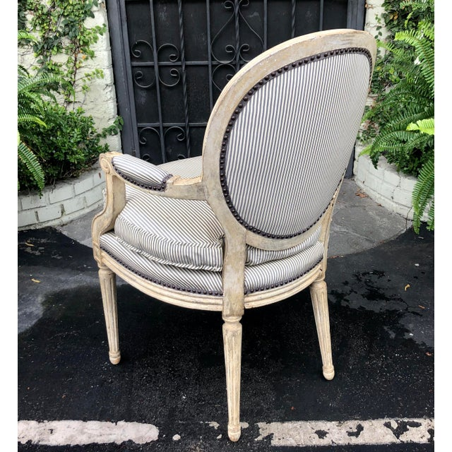 French Pair of Louis XV Style Balloon Back Arm Chairs W Silk Down Cushions For Sale - Image 3 of 6