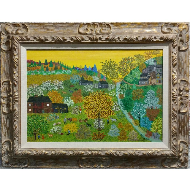 Helena Adamanoff - Russian Farmland Landscape - beautiful Oil painting 1958 oil painting on canvas -Signed and dated frame...