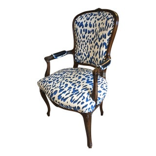 Vintage Mid Century Leopard Print Bergere Chair For Sale