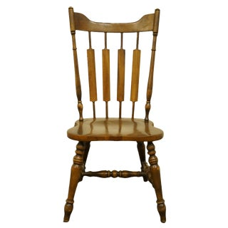 Late 20th Century Temple Stuart Rockingham Solid Hard Rock Maple Cattail Back Dining Side Chair For Sale
