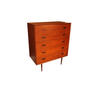 Teak Mid Century Modern Tall Dresser With Sculpted Handles For Sale