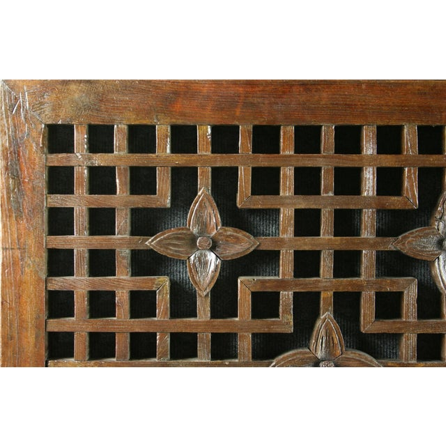 Antique Chinese Geometric Carved Window Screen - Image 2 of 7