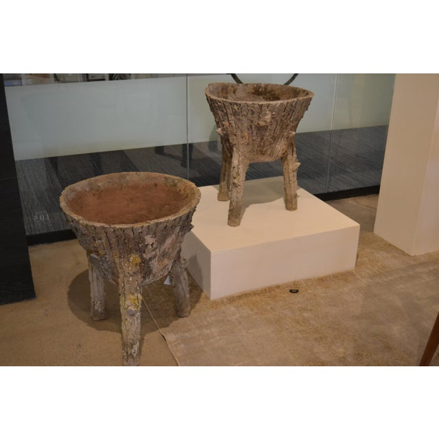 Cement Faux Bois Planters From Belgium, - a Pair For Sale - Image 11 of 11
