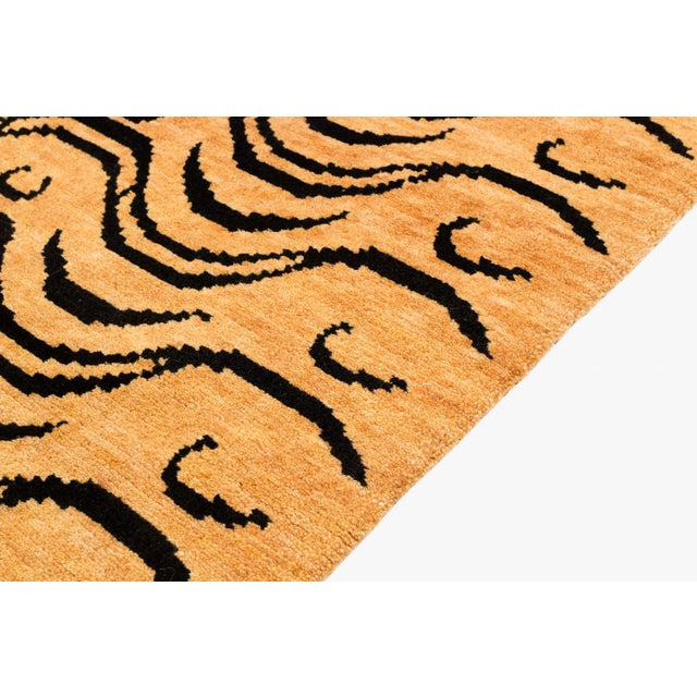 Black and Tan Wool Tibetan Tiger Area Rug For Sale - Image 4 of 7