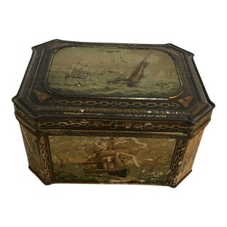 Antique Nautical Ship Tin For Sale