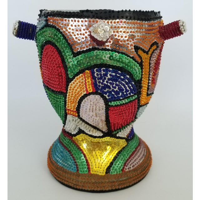 Contemporary 1970s Vintage Haitian La Sirene Mermaid Beaded Drum For Sale - Image 3 of 13