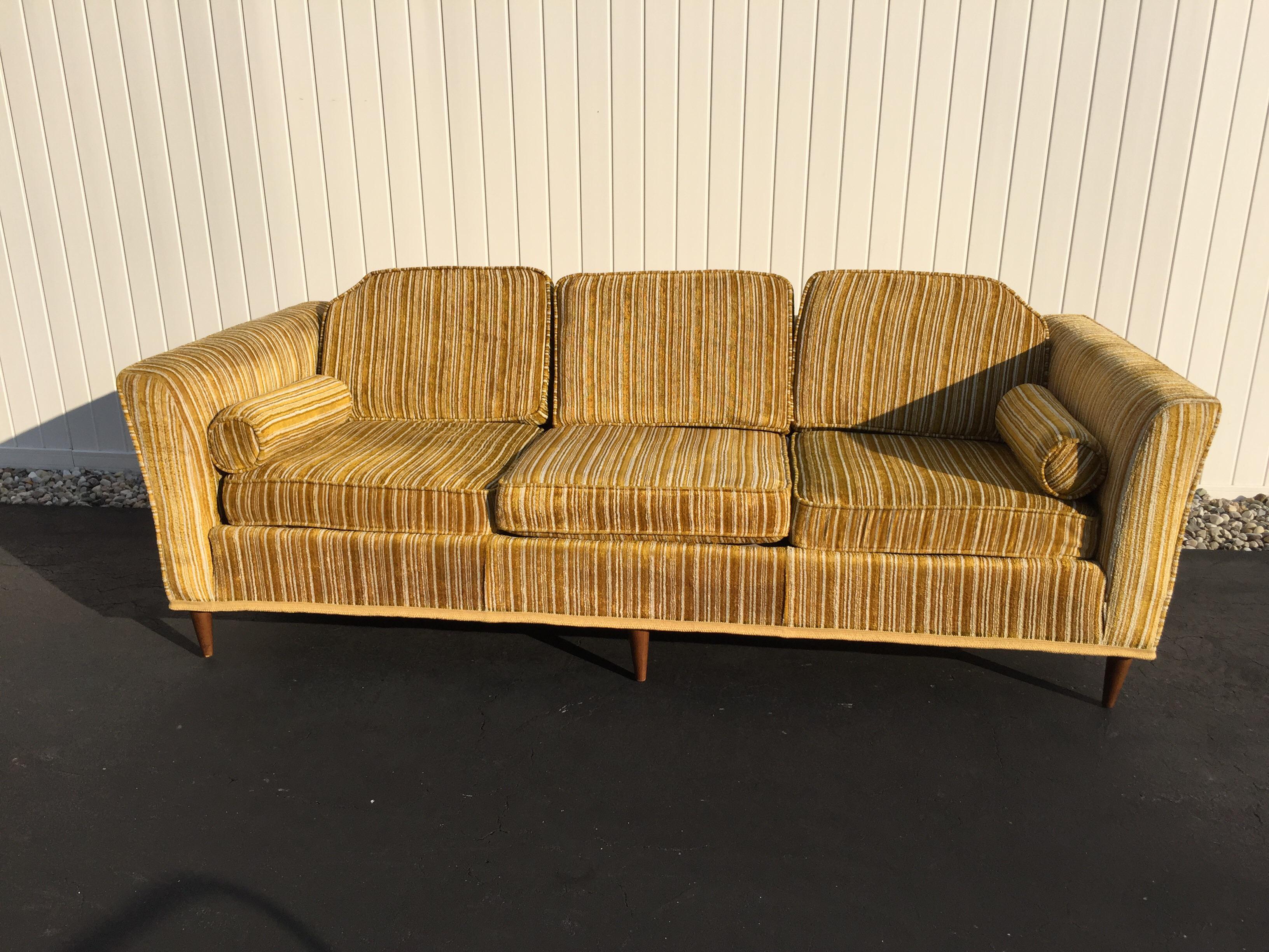 Kroehler Royale Mid Century Gold Striped Sofa   Image 2 Of 11