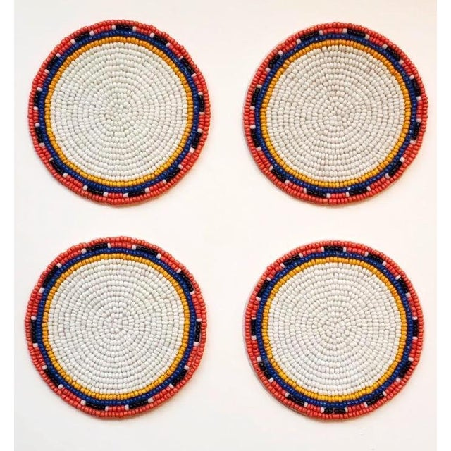 African White Multi Beaded Coasters - Set of 4 For Sale - Image 3 of 3