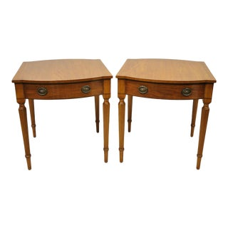 Vintage English Banded Mahogany Sheraton Style Inlaid One Drawer End Tables - a Pair For Sale