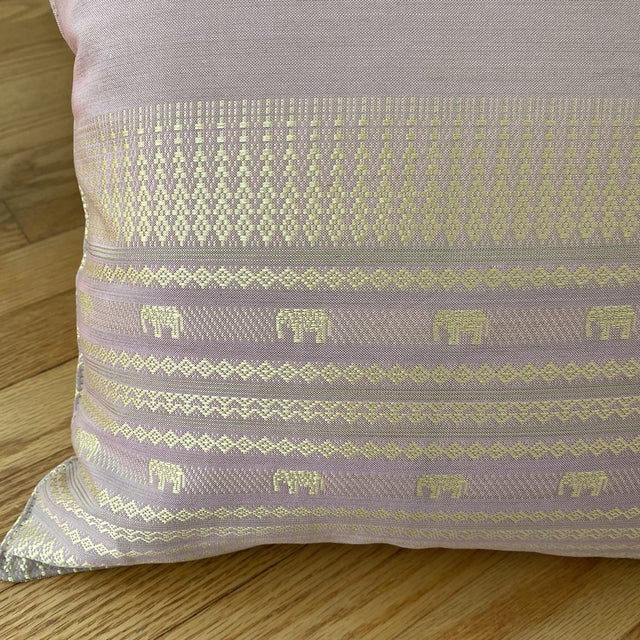 Contemporary Pink Thai Silk Pillow With Elephant Motifs For Sale - Image 10 of 11