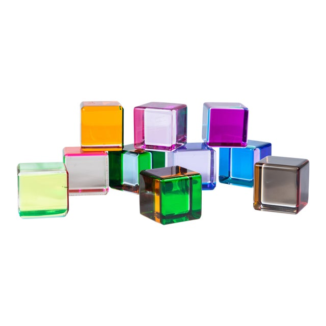 Set of 10 Colored Lucite Cubes by Vasa Mihich For Sale