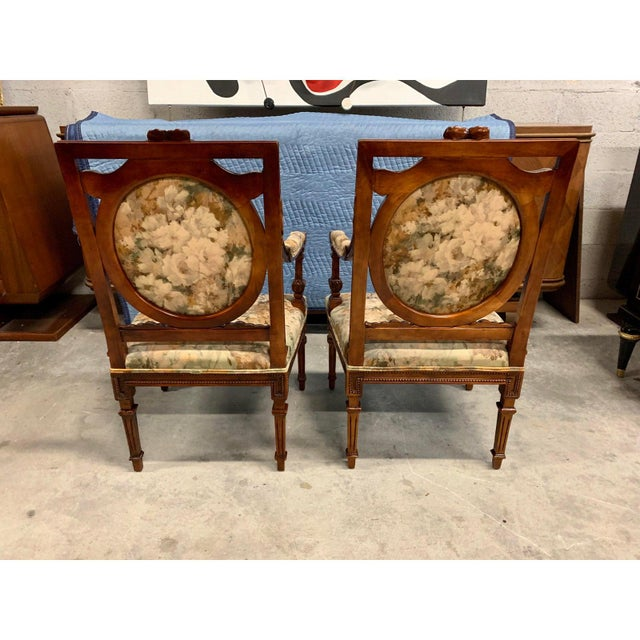 French Country French Louis XVI Solid Mahogany Accent Chairs or Bergère Chairs 1920s - a Pair For Sale - Image 3 of 12