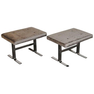 Mid-Century Vintage Dia Chrome Benches- A Pair For Sale