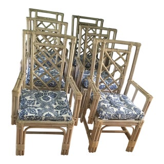 Chippendale Rattan Dining Chairs - Set of 6