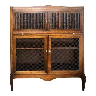 Vintage Mahogany Bookshelf or Desk With Book-Spine Doors For Sale