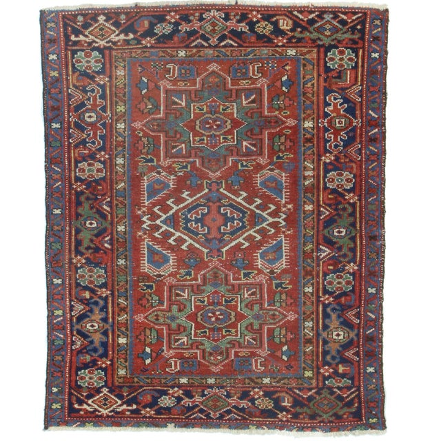 RugsinDallas Antique Hand-Knotted Wool Persian Karajeh - 3′4″ × 4′3″ For Sale